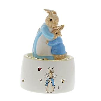 Beatrix Potter Mrs. Rabbit and Peter Ceramic Musical Collector's Figurine - Boxed