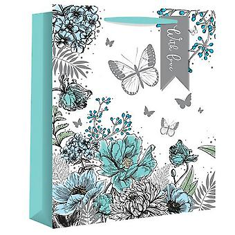 Eurowrap Floral Illustration Gift Bags (Pack of 12)