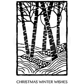 Woodware Polymer Stamp Clear Singles Lino Cut - Birch Trees