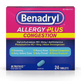 Benadryl anti plus congestie, tabletten, 24 ea