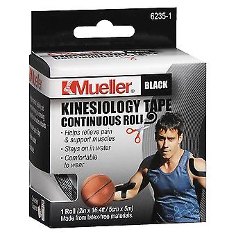 Mueller kinesiology tape, continuous roll black, 1 ea