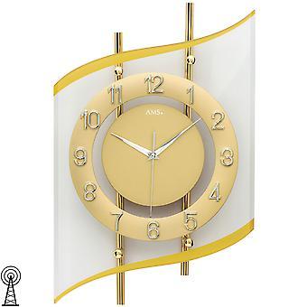 AMS 5505 Seinäkello radio radio seinäkello analoginen kultainen moderni kaareva lasi