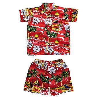 Club cubana kids boys girls childrens slim fit classic short sleeve casual shirts and shorts set red