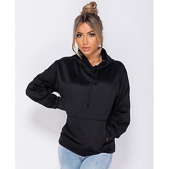 Oversized Draw String Hooded SweaT-Shirt - Black