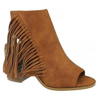 Spot On Womens/Ladies Open Ankle Boots With Tassels