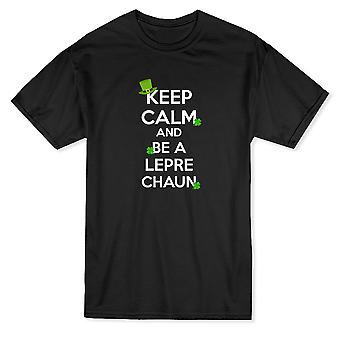 Mantener la calma y ser un Leprechaun Patrick día gráfico camiseta de los hombres