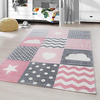 ShortFlor Kids Carpet Heart Star Cloud Dots Soft Baby Room Gris Rose