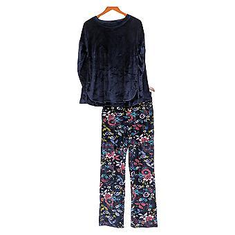 Cuddl Duds Women's Pajama Set Plush Velvet Fleece Novelty Blue A342095