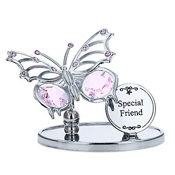 Crystocraft Keepsake Gift Ornament - Special Friend Butterfly Plaque made with Swarvoski Crystals