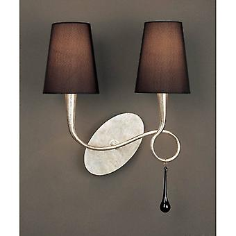 Paola Wall Light With Switch 2 Bulbs E14, Silver Painted With Black Lampshades & Black Glass Droplets