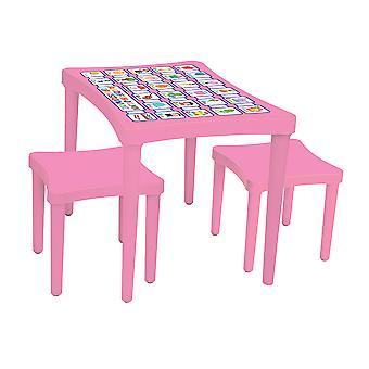 Pilsan 03493, Kindertisch mit 2 Hockern, rosa, Kindersitzgruppe, ab 3 Jahre