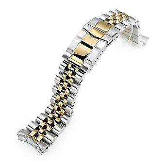 Strapcode watch bracelet 22mm angus jubilee 316l stainless steel watch bracelet for seiko skx007, two tone brushed with polished ip gold wcp01979