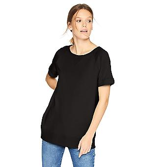 Daily Ritual Women's Terry Cotton och Modal Roll-Sleeve Shirt, Svart, X-Large