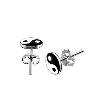 Boucle d'oreille en argent logo Ying Yang