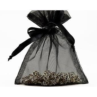 12 Large Black Organza Favour Gift Bags - 15.5cm x 22.5cm