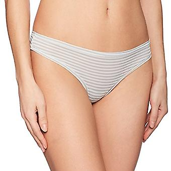 Marque - Mae Women-apos;s Airy Thong, 3-Pack, Light Heather Grey Stripe/Deni...