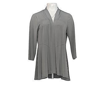 Susan Graver Women's Sweater Liquid Knit 3/4 Sleeve Peplum Grey A263668