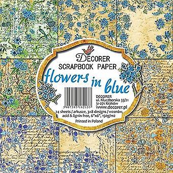 Fleurs de décoreur dans le paquet de papier bleu 6x6 pouces