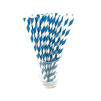 25PCS Disposable Striped Paper Straws Blue