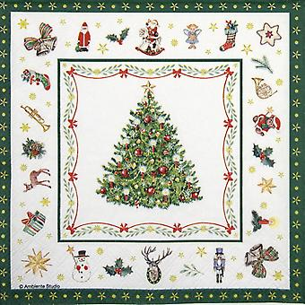 Ambiente 3 Ply Paper Napkins, Christmas Evergreen White