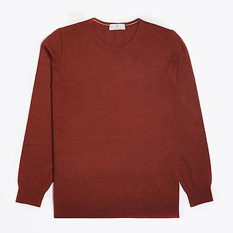 Thomas Maine  - Merino Crew Neck Knit Sweater - Burnt Orange