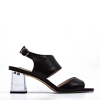 DKNY | Sterling Lucite Ankle Strap Leather Block Heel Sandals