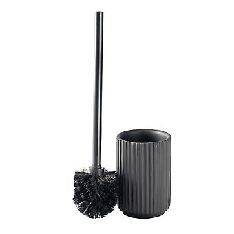 Toilet Brush and Holder Set - Industrial Modern Bathroom Cleaning Accessories - Concrete - Black