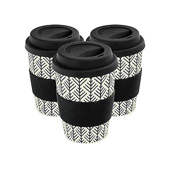 Reusable Coffee Cups - Bamboo Fibre Travel Mugs with Silicone Lid, Sleeve - 350ml (12oz) - Geometric - Black - x3