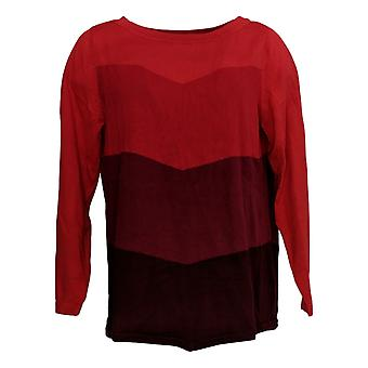 Bob Mackie Women's Sweater Chevron Intarsia Sweater Red A344693