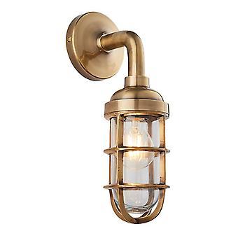 Endon Lighting Elcot - Vegglampe solid mellow messing og klart glass 1 lys dimbar IP20 - E27