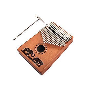 17 Key Mahogany Metal Kalimba Finger Thumb Piano Craft Brown