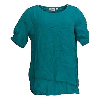 Joan Rivers Classics Collection Women's Top Short Sleeve Round Neck Blue
