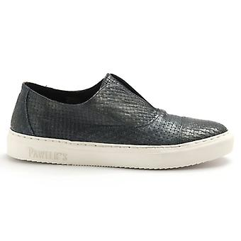 Slip On Pawelk&s Blue Woven Leather Shoes