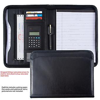 A4 Multi-function Leather Document Organizer, File Folder With Calculator