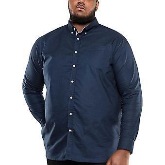 Duke D555 hombres grande rey alto tamaño Clarence 2 botón delantero camisa de algodón - azul marino