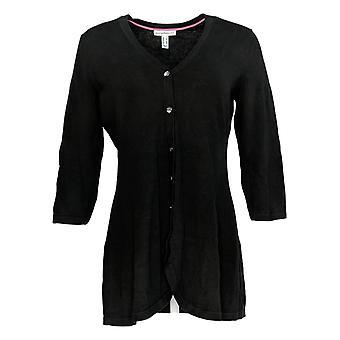 Isaac Mizrahi Live! Women's Sweater Button Front Cardigan Black A354771