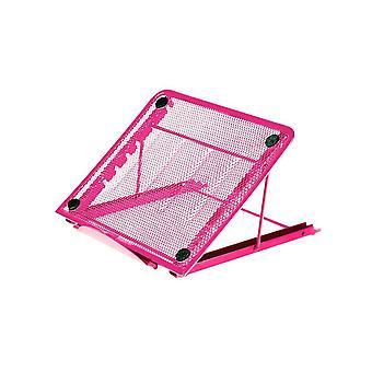 Mesh Cooling Ventilated Adjustable Laptop Stand Tidier Desktop - Pink