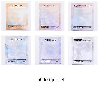 Planet Drawing Sticky Note Set, Decorative Rainbow Moon Galaxy Memo Agenda