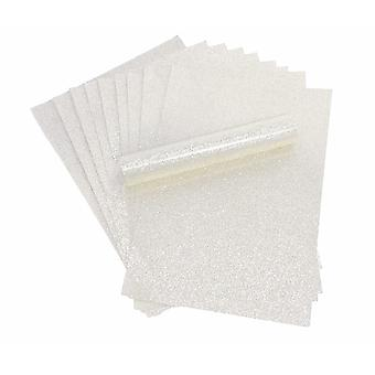 Pure White A4 Glitter Paper Soft Touch Non Shed 100gsm Pack of 10 Sheets