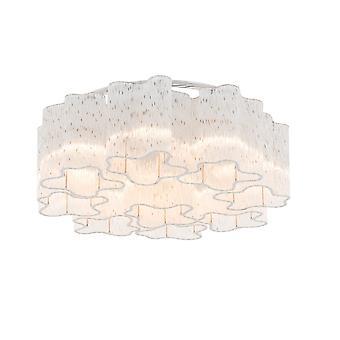 Italux Antonio - Classic Flush Deckenleuchte Chrom 9 Licht mit Glasschirm, E27