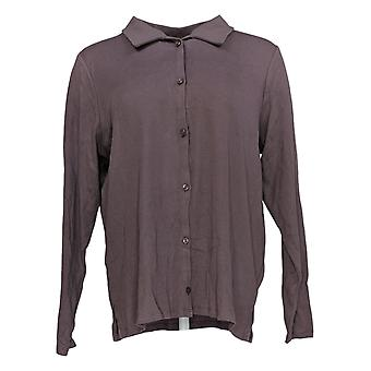 Anyone Women's Top Cozy Knit Collared Rib Button Front Purple A367698