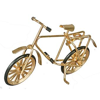 Dolls House Mały Złoty Rower Rowerowy Miniatura 1:12 Skala Akcesoria ogrodowe