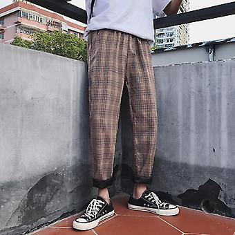 Youth Streetwear Black Plaid Pants, Men Straight Harem Pant, Hip Hop Trousers