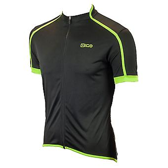 EIGO Classic Mens Short Sleeve Cycling Jersey Black / Green