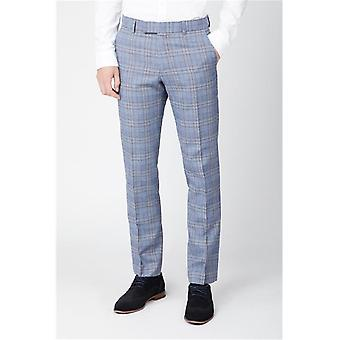 Light Blue Tweed Check Suit Trousers