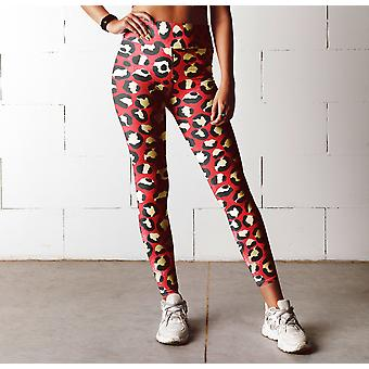 Roter Leopard Print hohe Taille Leggings