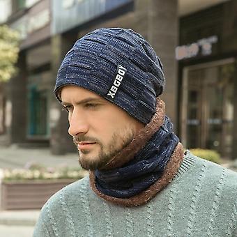 Téli kötött koponya nyak melegítő vastag gyapjú bélelt kalap és sál / nők