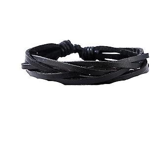 Bracelet tressé fait main en cuir noir authentique pour hommes
