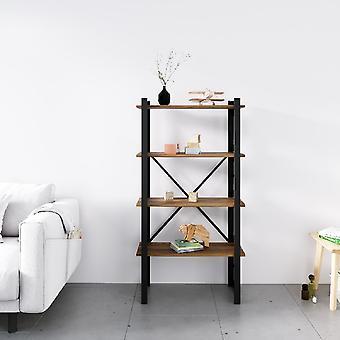 Bubble Black Boekenkast, Metaalhout, Melamine Spaanplaat, L70xP35xA150 cm, L62xP29xA34,5 cm