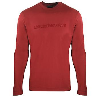 Emporio Armani Logo Long Sleeved Red T-Shirt